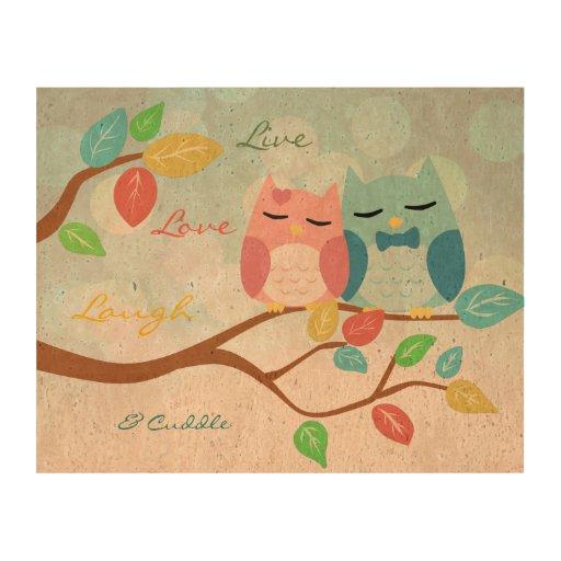 Live love laugh with cute cartoon owl couple cork paper prints