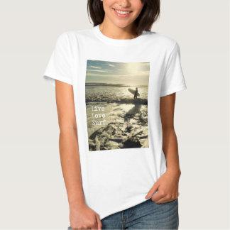 Live Love Surf womens' coastal quote t-shirt