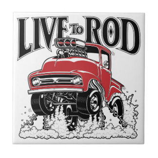 LIVE TO ROD 1956 F100 Gasser Small Square Tile