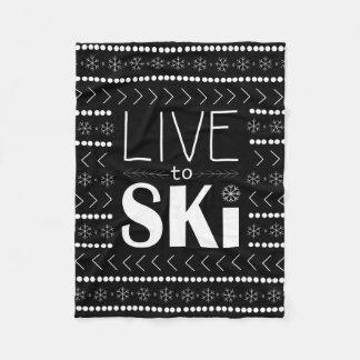 Live to Ski blanket - black