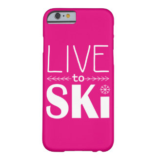 Live to Ski phone case (basic) - hot pink