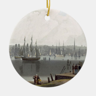 Liverpool, taken from the opposite side of the riv round ceramic decoration