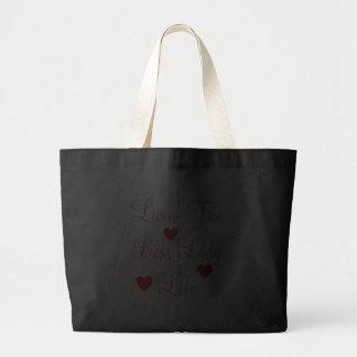 Livin' The Boss Lady Life Hearts Jumbo Tote Canvas Bags