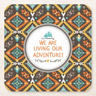 Living Our Adventure Square Paper Coaster
