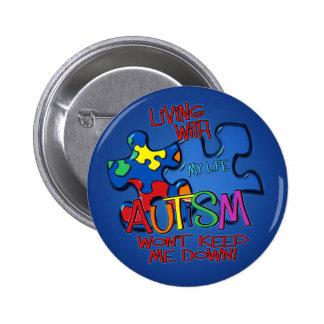 Living With Autism 6 Cm Round Badge