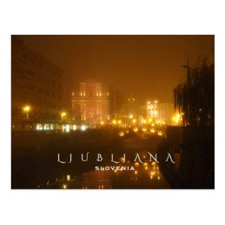 Ljubljana Foggy Night Postcard