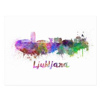 Ljubljana skyline in watercolor postcard