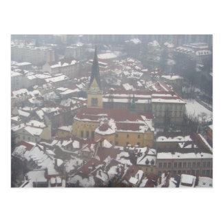 ljubljana winter church postcard