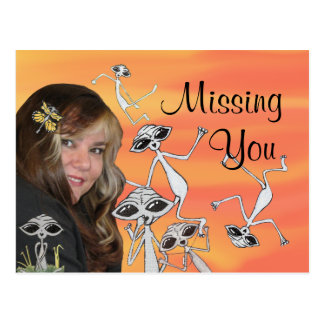 LK and her Alien Friends Missing You Post Card