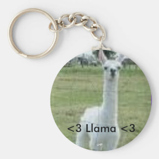 Llama Basic Round Button Key Ring