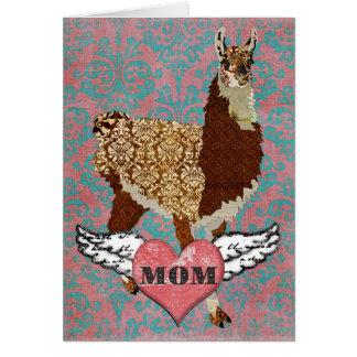 Llama Damask Heart Mother's Day Card