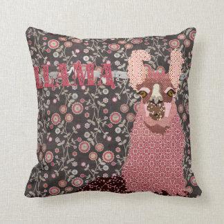 Llama Pink & Brown Vintage Floral Mojo Pillo Throw Pillow