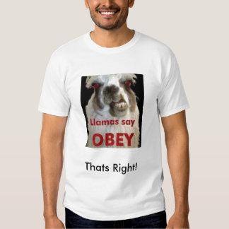 Llamas say obay t-shirt