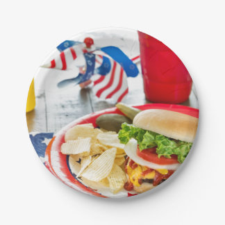 Loaded hamburger with a patriotic theme paper plate