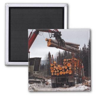 Loading a Logging Truck Magnet