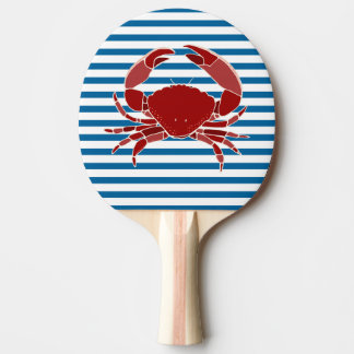 Lobster and Crab Blue and White Horizontal Stripe Ping Pong Paddle