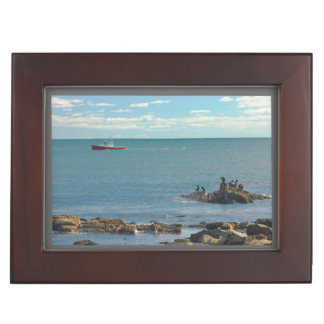 Lobster Boat Working off Rocky Seawall Beach Keepsake Box