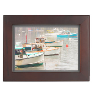 Lobster Boats In Bass Harbor, Mount Desert Island Keepsake Box