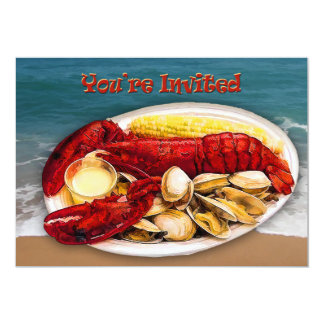 Lobster & Clams Ocean Shoreline You're Invited 13 Cm X 18 Cm Invitation Card