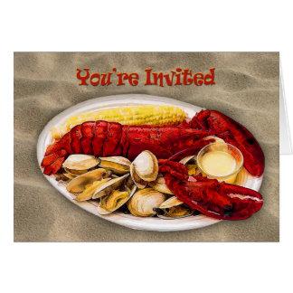 Lobster & Clams Sandy Beach You're Invited Card