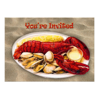 Lobster & Clams Sandy Beach You're Invited Custom Announcements