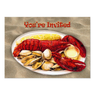"Lobster & Clams Sandy Beach You're Invited 5"" X 7"" Invitation Card"