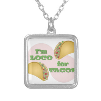 Loco For Tacos Silver Plated Necklace
