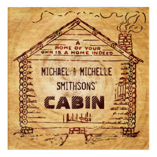 Log Cabin Personalized Name Faux Wood Vintage Acrylic Wall Art