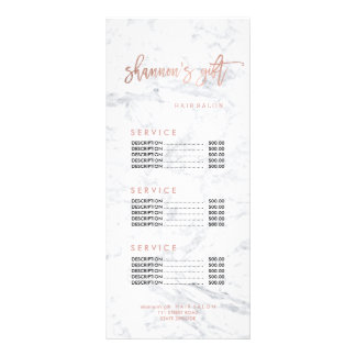 logo hair faux gold marble price list rack card