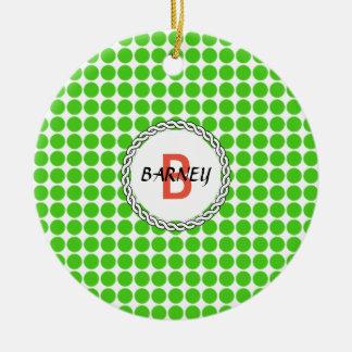 Logo with green polka dots christmas ornament