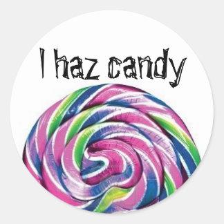 Lolly, I haz candy Round Sticker