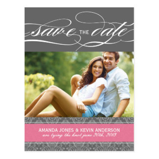Lolly Pink and Grey Damask Save the Date Postcard