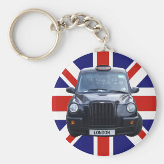 London Black Taxi Cab Basic Round Button Key Ring