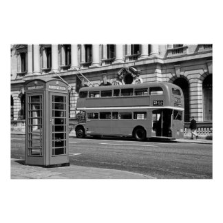 London Bus & Red Telephone Box Poster