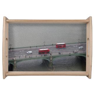 London Busses on Bridge Serving Tray