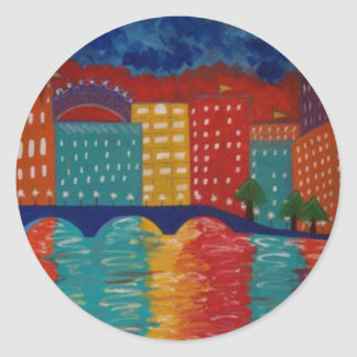 """""""London"""" by Linda Powell~Original Abstract Classic Round Sticker"""