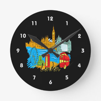 london city travel image.png wall clock
