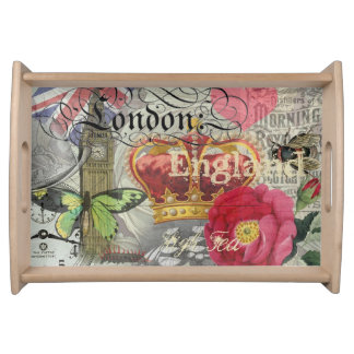 London England Vintage Travel Collage Serving Tray