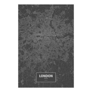 London, England (white on black) Poster
