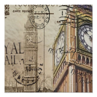 london landmark big ben vintage fashion poster