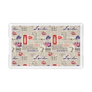 London Newspaper Pattern Acrylic Tray