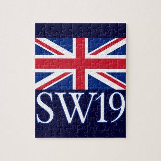 London Postcode SW19 with Union Jack Jigsaw Puzzle