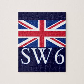 London Postcode SW6 with Union Jack Jigsaw Puzzle