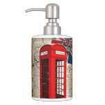 london red telephone booth fashion british flag soap dispenser