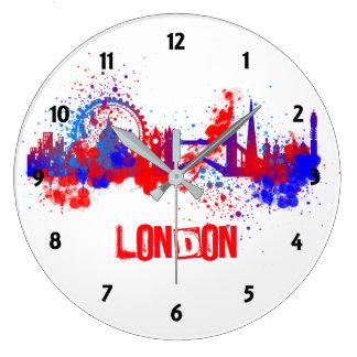 London Skyline Red White Blue Artistic Paint Splat Large Clock