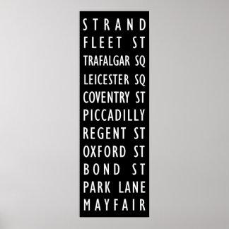 London Vintage Streets Sign Poster