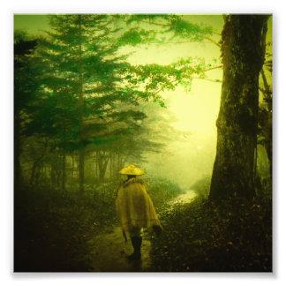 Lone Pilgrim in the Forest Road Mist Vintage Japan Photo Print