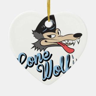 Lone Wolf Ceramic Heart Decoration