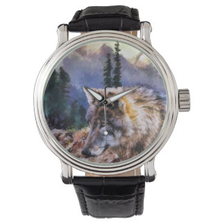 Lone Wolf Nature Men's Black Vintage Leather Watch