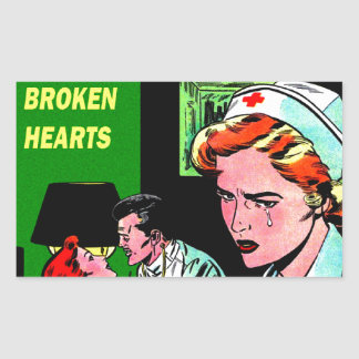 Lonely Heart Nurse - Love Romance Art Rectangular Sticker